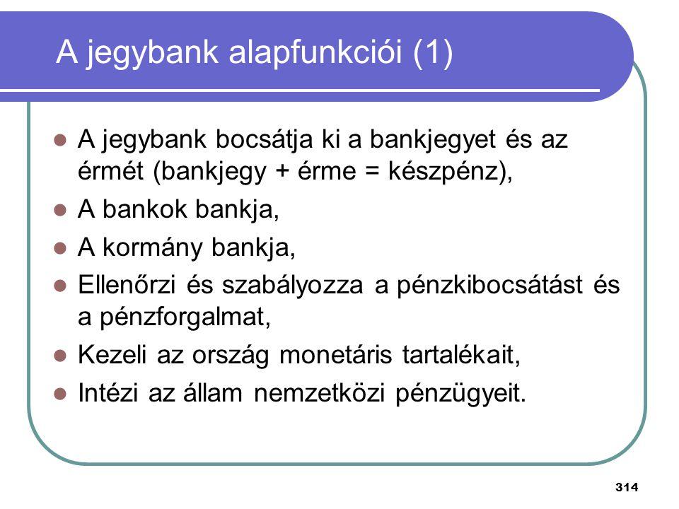 314 A jegybank alapfunkciói (1) A jegybank bocsátja ki a bankjegyet és az érmét (bankjegy + érme = készpénz), A bankok bankja, A kormány bankja, Ellen