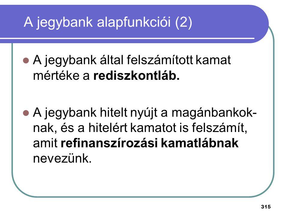 315 A jegybank által felszámított kamat mértéke a rediszkontláb. A jegybank hitelt nyújt a magánbankok- nak, és a hitelért kamatot is felszámít, amit