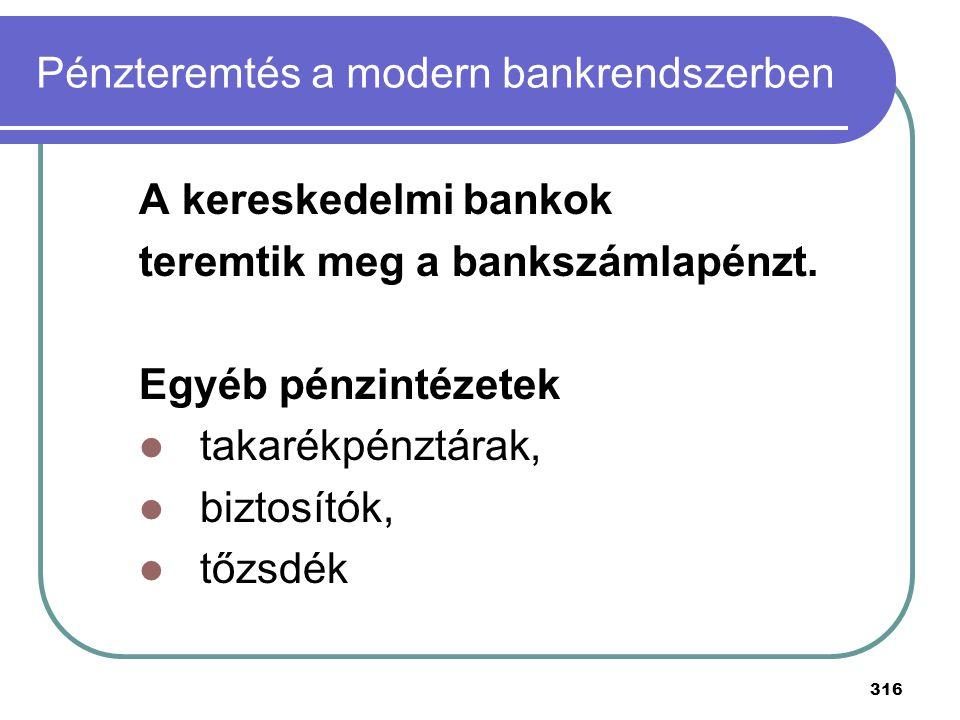316 A kereskedelmi bankok teremtik meg a bankszámlapénzt. Egyéb pénzintézetek takarékpénztárak, biztosítók, tőzsdék Pénzteremtés a modern bankrendszer