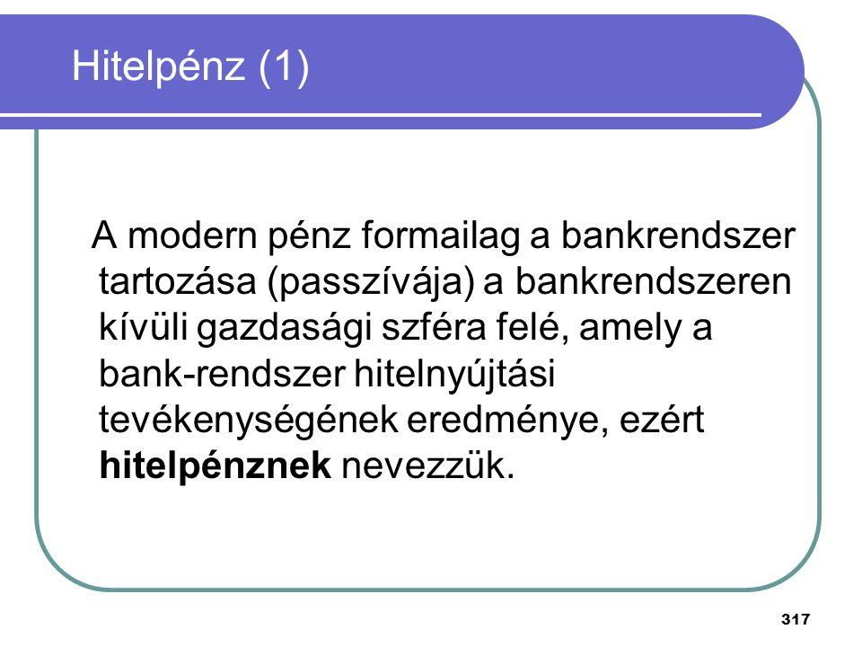 317 A modern pénz formailag a bankrendszer tartozása (passzívája) a bankrendszeren kívüli gazdasági szféra felé, amely a bank-rendszer hitelnyújtási t