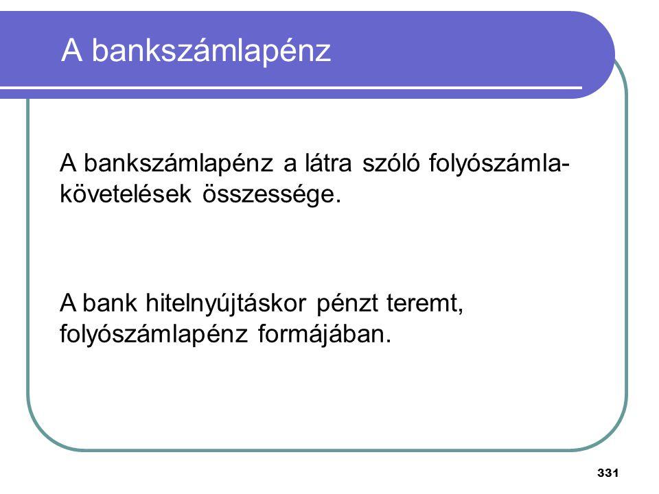 331 A bankszámlapénz A bankszámlapénz a látra szóló folyószámla- követelések összessége. A bank hitelnyújtáskor pénzt teremt, folyószámlapénz formájáb