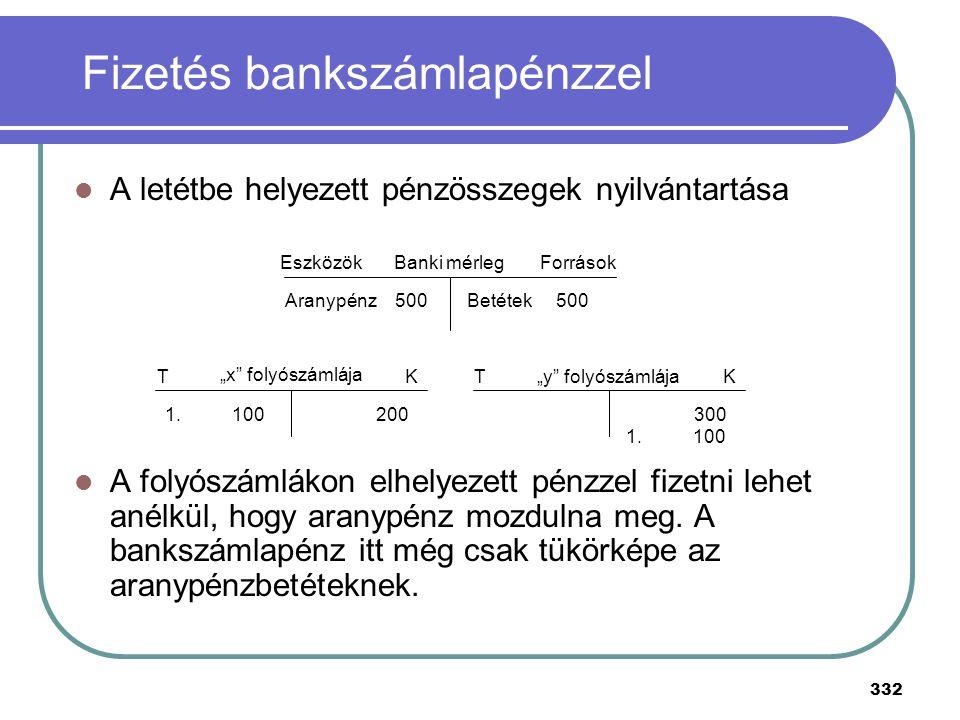 332 Fizetés bankszámlapénzzel A letétbe helyezett pénzösszegek nyilvántartása A folyószámlákon elhelyezett pénzzel fizetni lehet anélkül, hogy aranypé