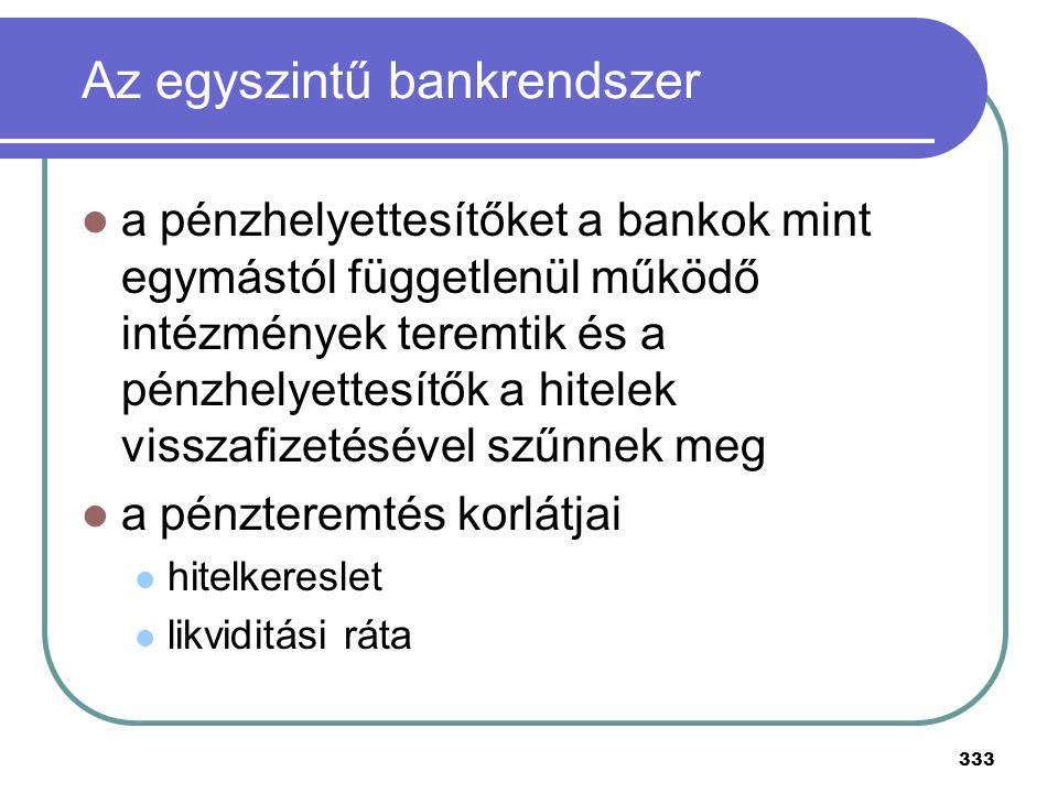333 Az egyszintű bankrendszer a pénzhelyettesítőket a bankok mint egymástól függetlenül működő intézmények teremtik és a pénzhelyettesítők a hitelek v