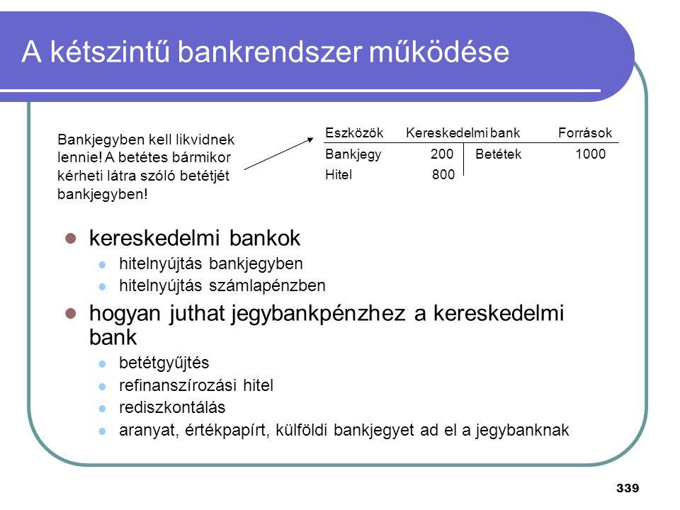 339 A kétszintű bankrendszer működése kereskedelmi bankok hitelnyújtás bankjegyben hitelnyújtás számlapénzben hogyan juthat jegybankpénzhez a keresked