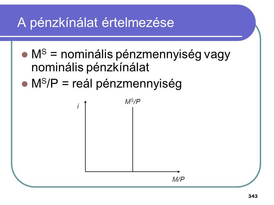 343 A pénzkínálat értelmezése M S = nominális pénzmennyiség vagy nominális pénzkínálat M S /P = reál pénzmennyiség M S /P M/P i