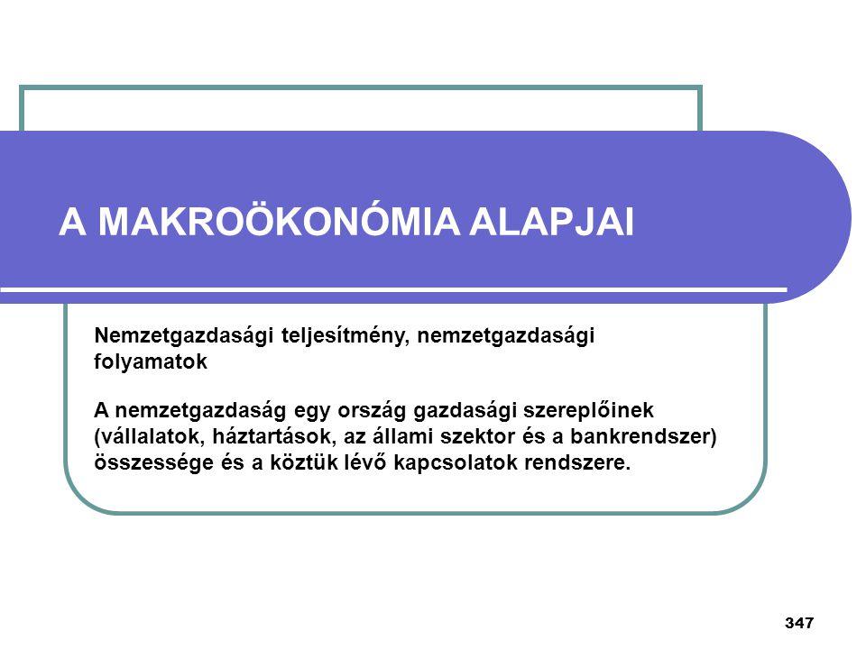 347 A MAKROÖKONÓMIA ALAPJAI Nemzetgazdasági teljesítmény, nemzetgazdasági folyamatok A nemzetgazdaság egy ország gazdasági szereplőinek (vállalatok, h