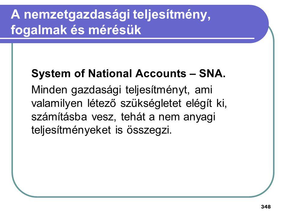 348 A nemzetgazdasági teljesítmény, fogalmak és mérésük System of National Accounts – SNA. Minden gazdasági teljesítményt, ami valamilyen létező szüks