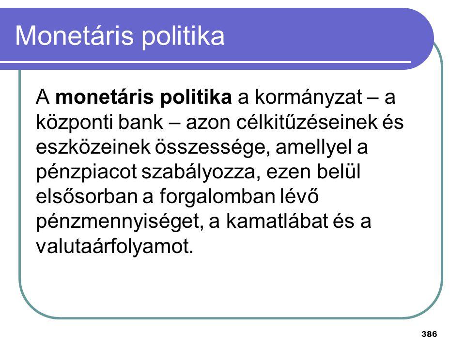 386 Monetáris politika A monetáris politika a kormányzat – a központi bank – azon célkitűzéseinek és eszközeinek összessége, amellyel a pénzpiacot sza