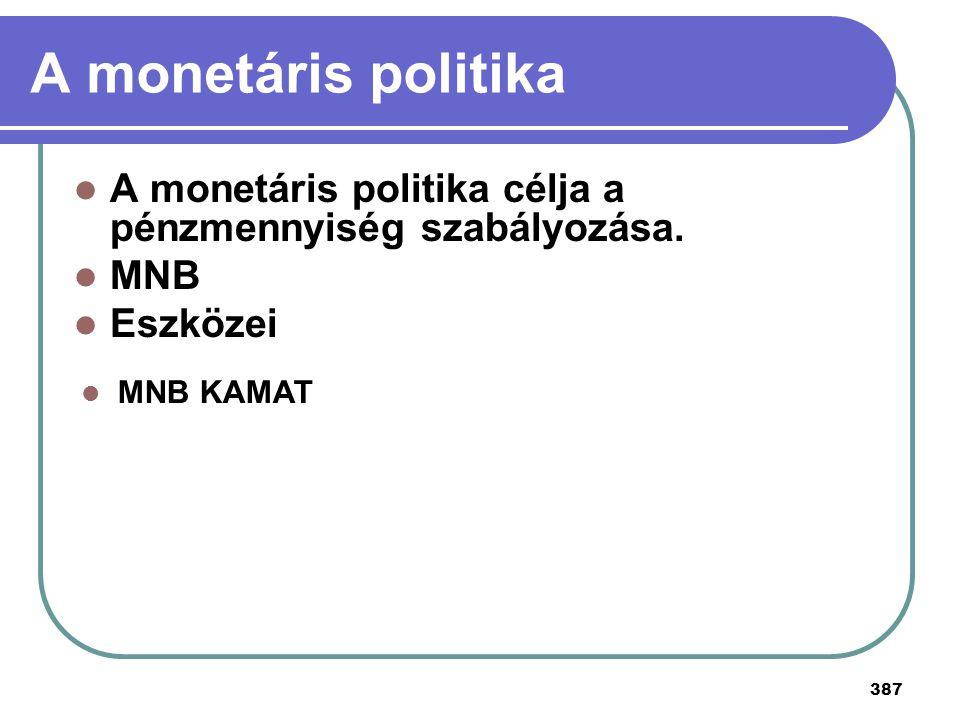 387 A monetáris politika A monetáris politika célja a pénzmennyiség szabályozása. MNB Eszközei MNB KAMAT