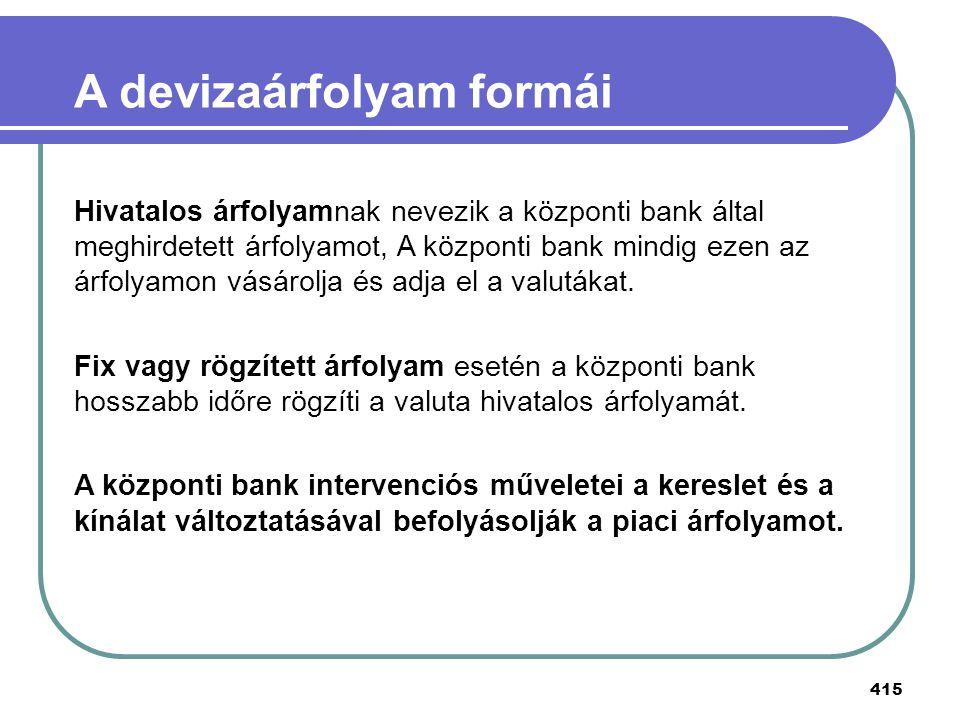 415 A devizaárfolyam formái Hivatalos árfolyamnak nevezik a központi bank által meghirdetett árfolyamot, A központi bank mindig ezen az árfolyamon vás