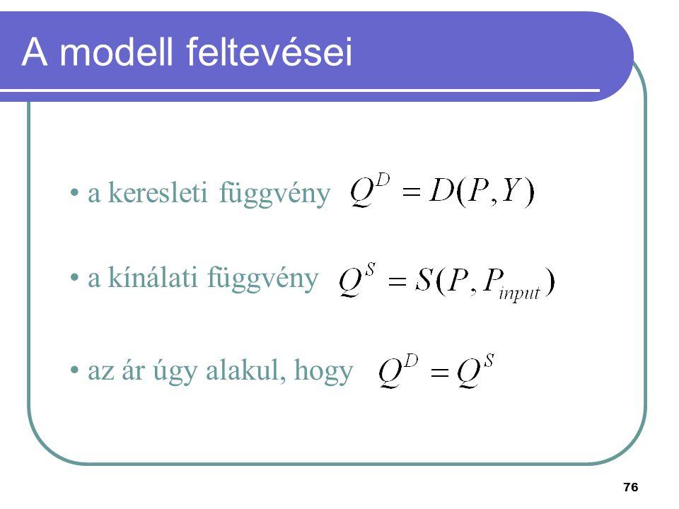 76 A modell feltevései a keresleti függvény a kínálati függvény az ár úgy alakul, hogy