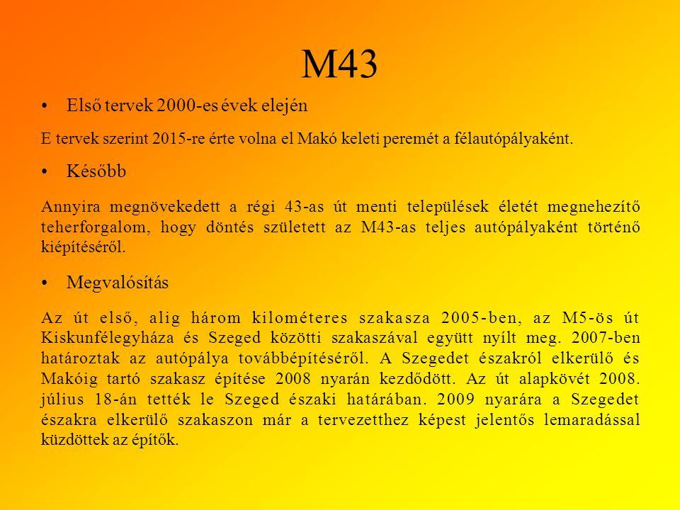 M43 Első tervek 2000-es évek elején E tervek szerint 2015-re érte volna el Makó keleti peremét a félautópályaként.