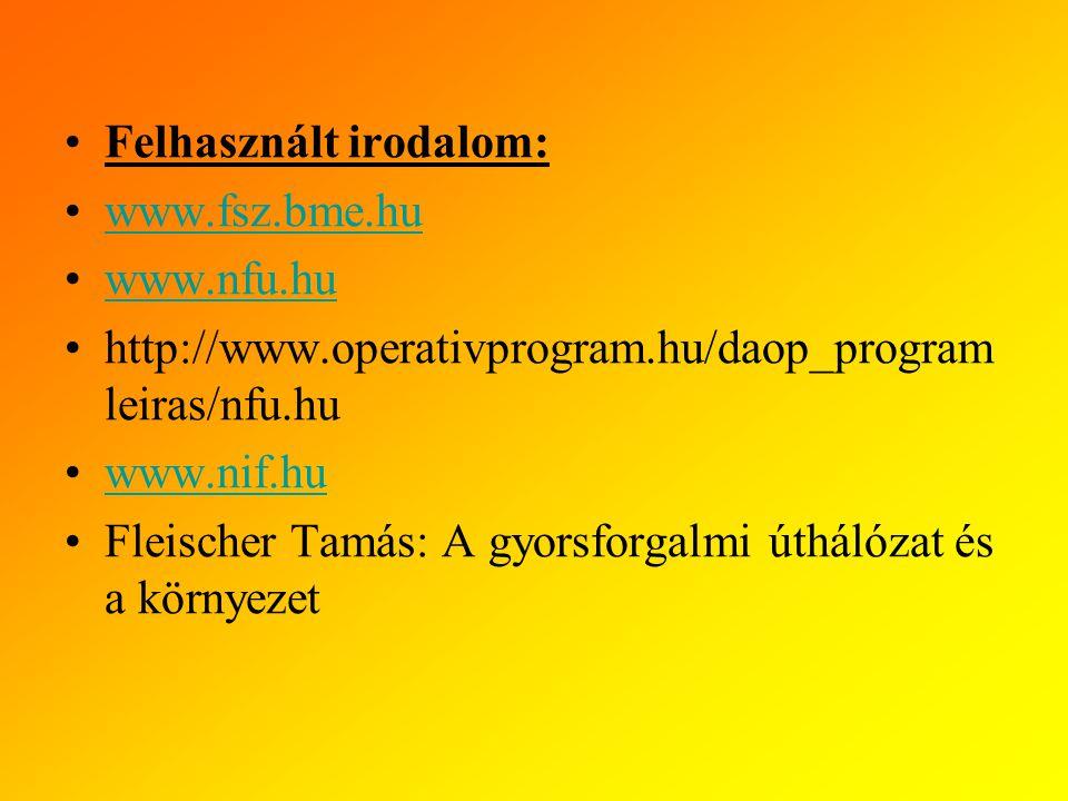 Felhasznált irodalom: www.fsz.bme.hu www.nfu.hu http://www.operativprogram.hu/daop_program leiras/nfu.hu www.nif.hu Fleischer Tamás: A gyorsforgalmi úthálózat és a környezet