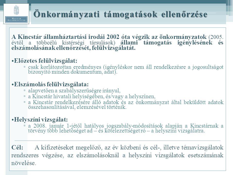 Önkormányzati támogatások ellenőrzése A Kincstár államháztartási irodái 2002 óta végzik az önkormányzatok (2005.
