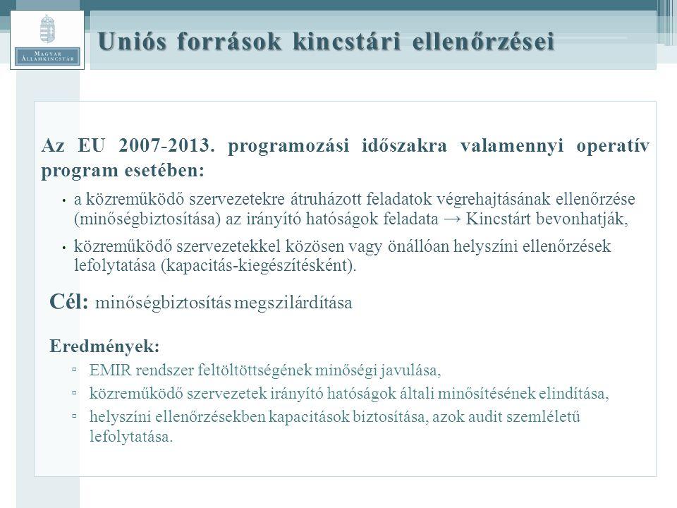 Uniós források kincstári ellenőrzései Az EU 2007-2013.