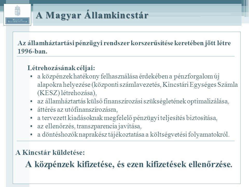 A Magyar Államkincstár Az államháztartási pénzügyi rendszer korszerűsítése keretében jött létre 1996-ban.