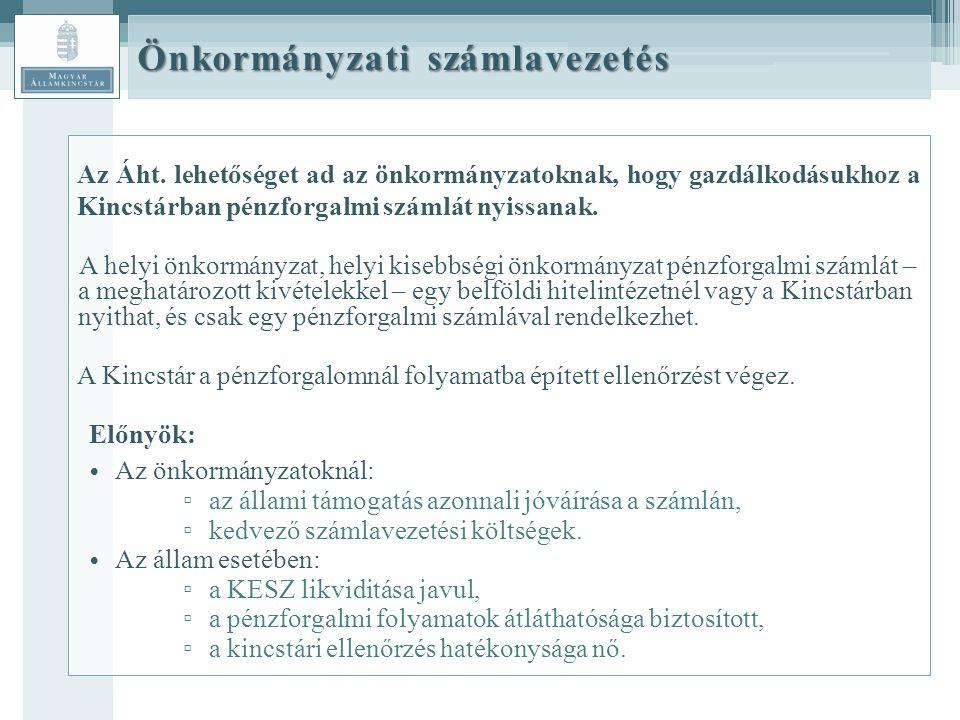 Önkormányzati számlavezetés Az Áht.