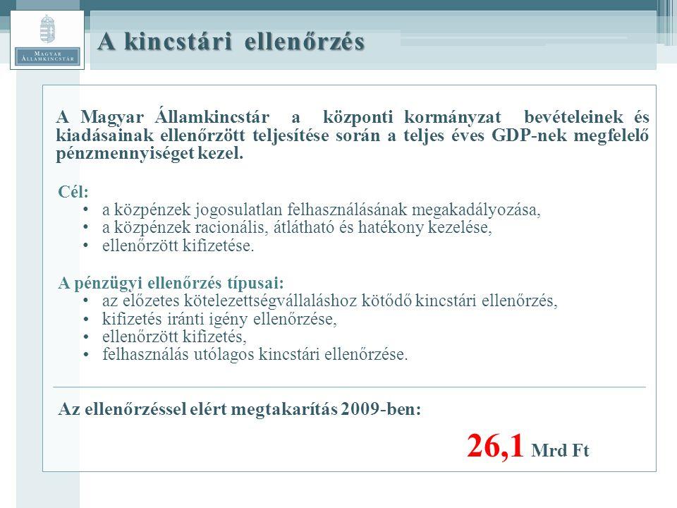 A kincstári ellenőrzés A Magyar Államkincstár a központi kormányzat bevételeinek és kiadásainak ellenőrzött teljesítése során a teljes éves GDP-nek megfelelő pénzmennyiséget kezel.