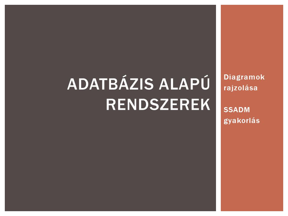Diagramok rajzolása SSADM gyakorlás ADATBÁZIS ALAPÚ RENDSZEREK