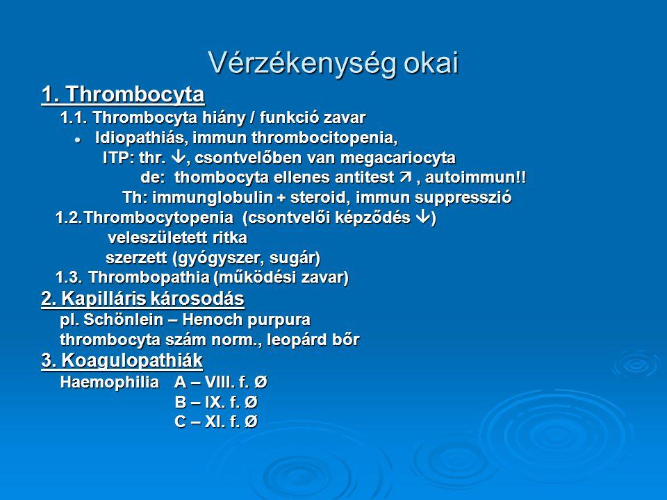 Vérzékenység okai 1. Thrombocyta 1.1. Thrombocyta hiány / funkció zavar 1.1. Thrombocyta hiány / funkció zavar Idiopathiás, immun thrombocitopenia, Id