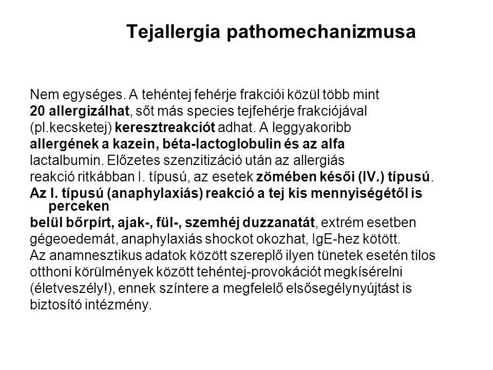 Tejallergia pathomechanizmusa Nem egységes. A tehéntej fehérje frakciói közül több mint 20 allergizálhat, sőt más species tejfehérje frakciójával (pl.