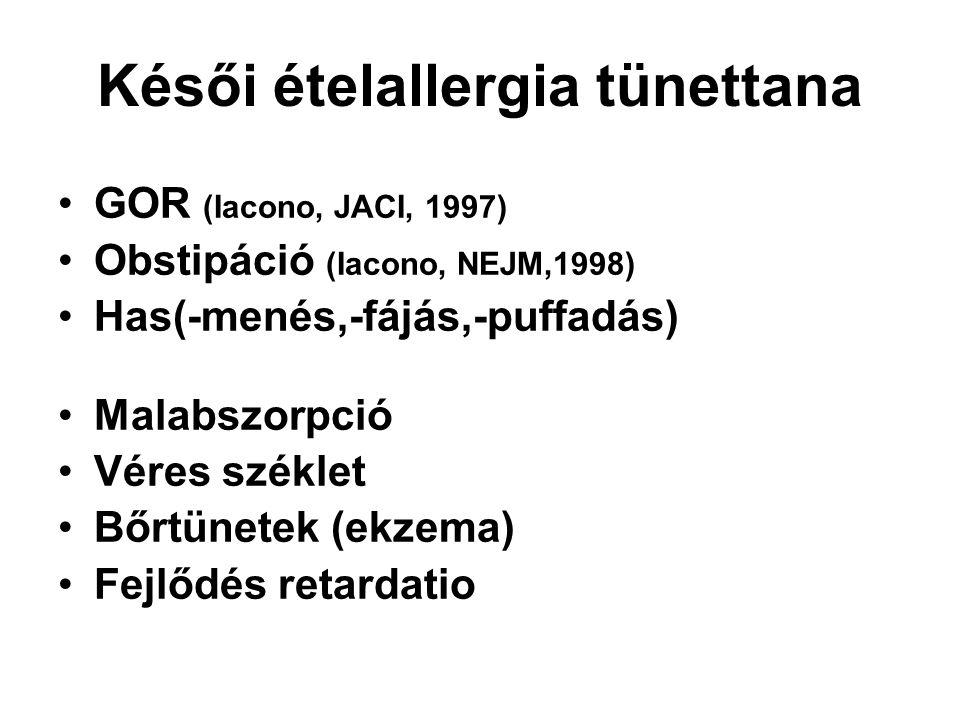 Késői ételallergia tünettana GOR (Iacono, JACI, 1997) Obstipáció (Iacono, NEJM,1998) Has(-menés,-fájás,-puffadás) Malabszorpció Véres széklet Bőrtünet