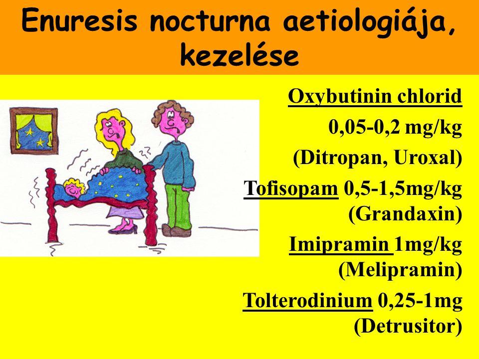 Enuresis nocturna aetiologiája, kezelése Oxybutinin chlorid 0,05-0,2 mg/kg (Ditropan, Uroxal) Tofisopam 0,5-1,5mg/kg (Grandaxin) Imipramin 1mg/kg (Mel