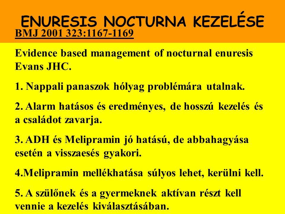 ENURESIS NOCTURNA KEZELÉSE BMJ 2001 323:1167-1169 Evidence based management of nocturnal enuresis Evans JHC. 1. Nappali panaszok hólyag problémára uta