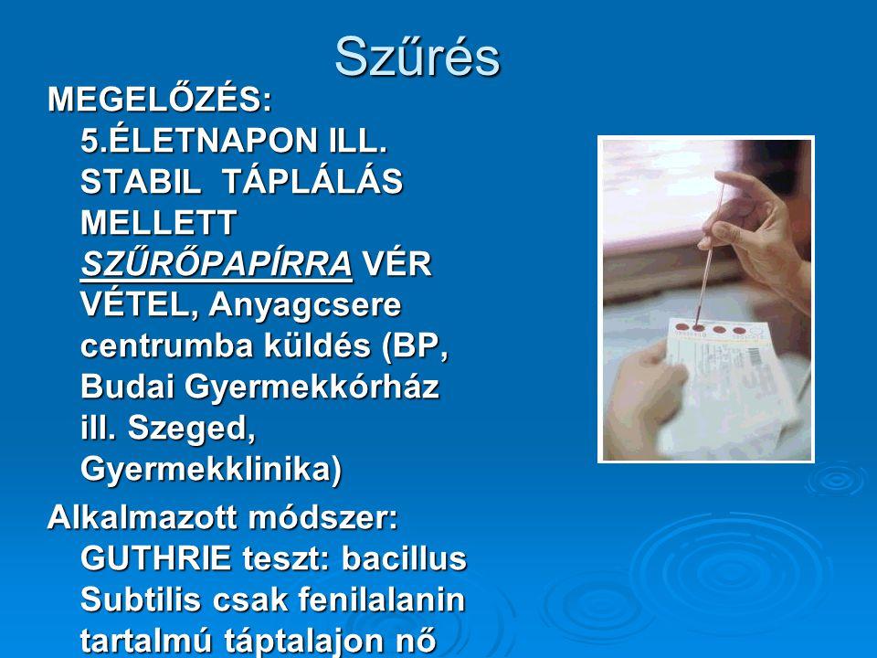 Szűrés MEGELŐZÉS: 5.ÉLETNAPON ILL. STABIL TÁPLÁLÁS MELLETT SZŰRŐPAPÍRRA VÉR VÉTEL, Anyagcsere centrumba küldés (BP, Budai Gyermekkórház ill. Szeged, G
