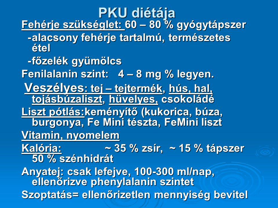 PKU diétája Fehérje szükséglet: 60 – 80 % gyógytápszer -alacsony fehérje tartalmú, természetes étel -alacsony fehérje tartalmú, természetes étel -főzelék gyümölcs -főzelék gyümölcs Fenilalanin szint: 4 – 8 mg % legyen.
