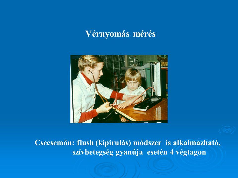 Vérnyomás mérés Csecsemőn: flush (kipirulás) módszer is alkalmazható, szívbetegség gyanúja esetén 4 végtagon