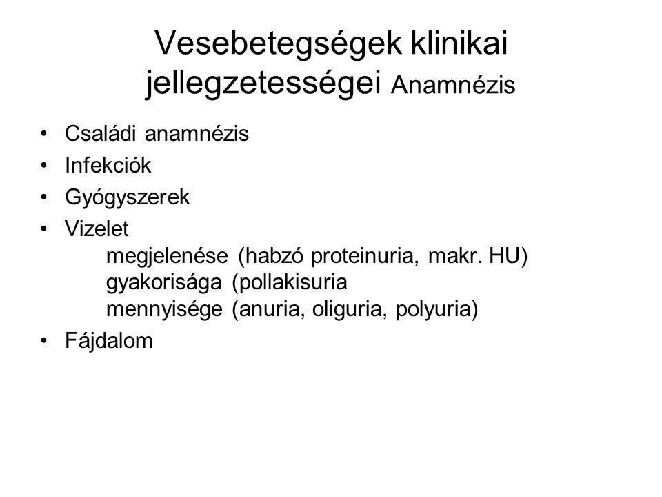 Vesebetegségek klinikai jellegzetességei Anamnézis Családi anamnézis Infekciók Gyógyszerek Vizelet megjelenése (habzó proteinuria, makr.