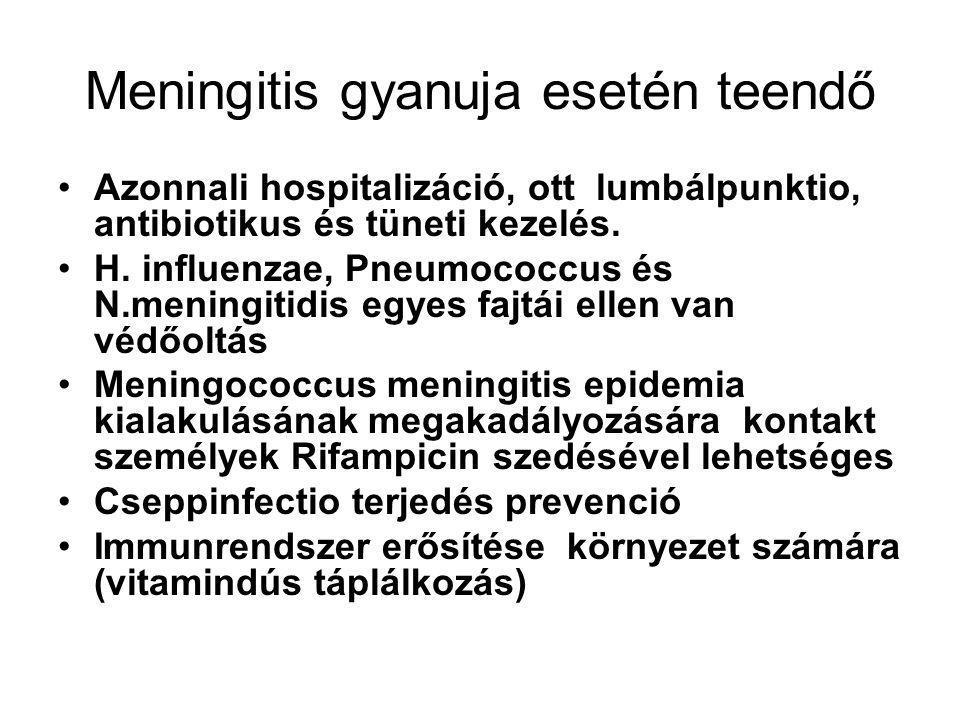 Meningitis gyanuja esetén teendő Azonnali hospitalizáció, ott lumbálpunktio, antibiotikus és tüneti kezelés. H. influenzae, Pneumococcus és N.meningit