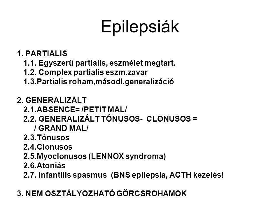 Epilepsiák 1. PARTIALIS 1.1. Egyszerű partialis, eszmélet megtart. 1.2. Complex partialis eszm.zavar 1.3.Partialis roham,másodl.generalizáció 2. GENER