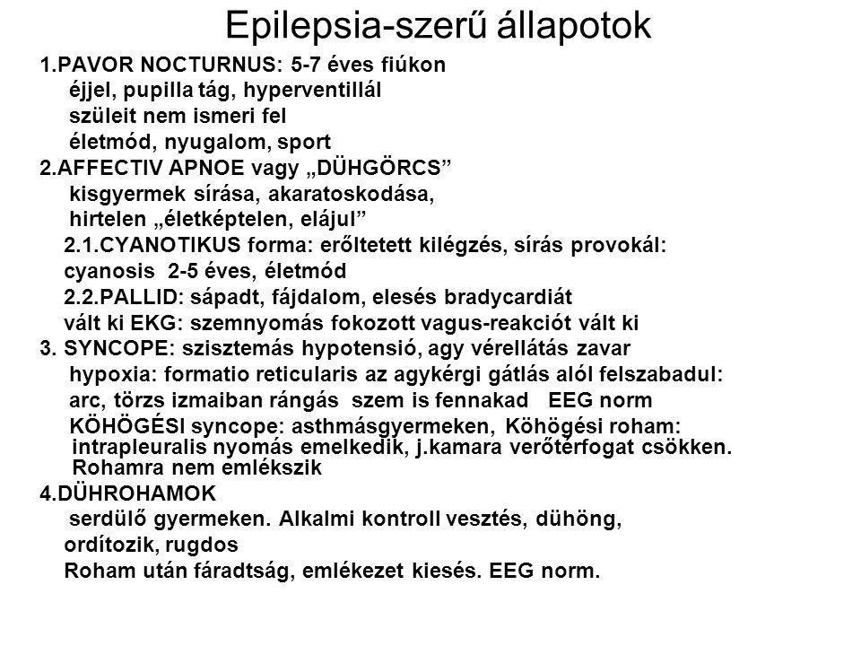 Epilepsia-szerű állapotok 1.PAVOR NOCTURNUS: 5-7 éves fiúkon éjjel, pupilla tág, hyperventillál szüleit nem ismeri fel életmód, nyugalom, sport 2.AFFE