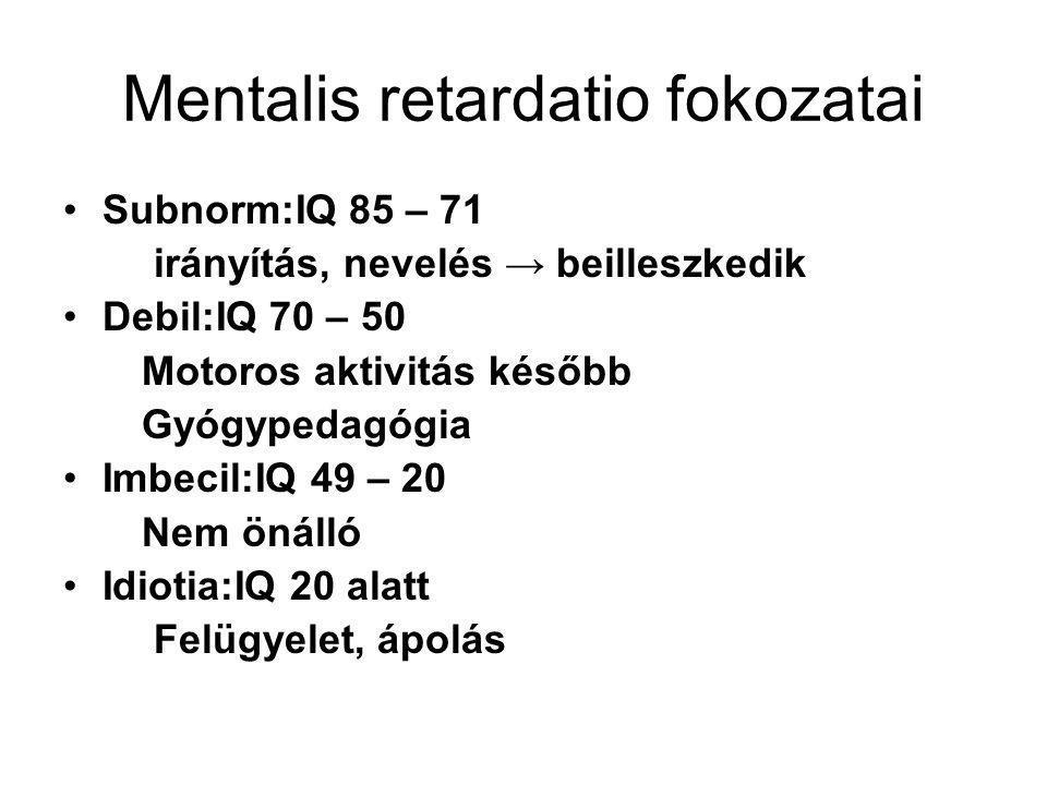 Mentalis retardatio fokozatai Subnorm:IQ 85 – 71 irányítás, nevelés → beilleszkedik Debil:IQ 70 – 50 Motoros aktivitás később Gyógypedagógia Imbecil:I