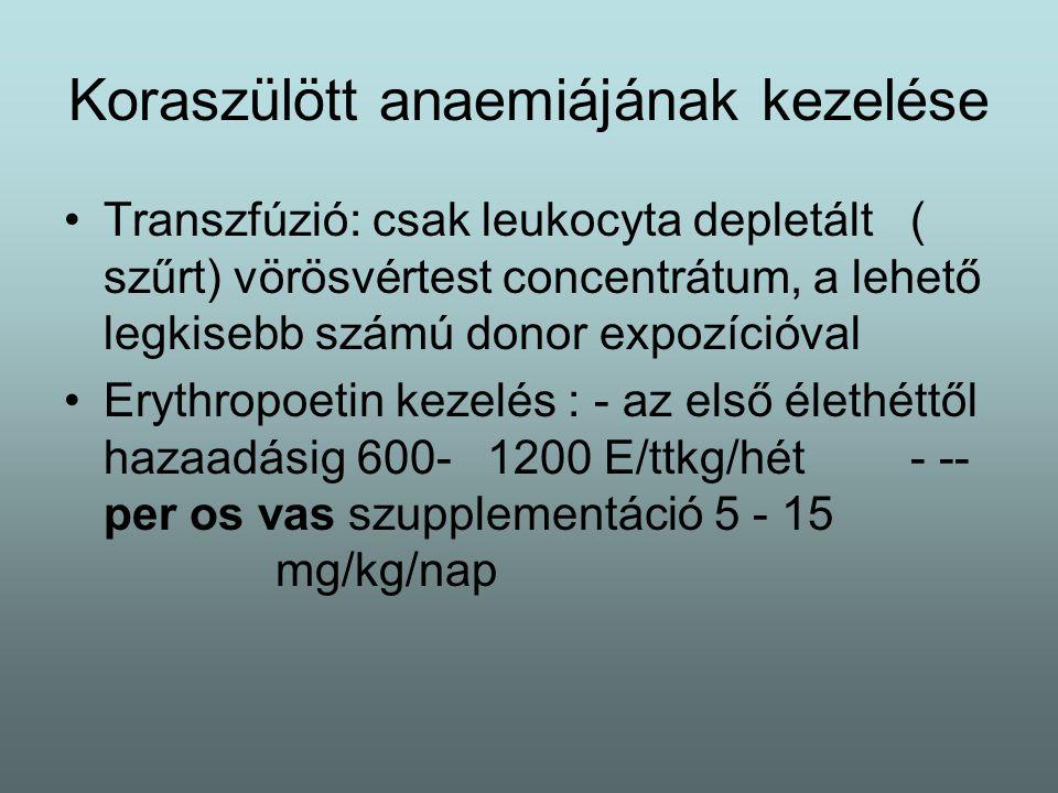 Koraszülött anaemia megelőzés/ gondozás 3.5-4.5 g/ttkg/nap protein diéta 6 mg/ttkg/nap enterális vasbevitel Az anaemia megítélésére/ követésére vérkép vizsgálat indokolt lehet Súlyállás - vontatott súlygyarapodás és / vagy fokozódó anaemia esetén kivizsgálás kell Vasparaméterek vizsgálata lehetőleg infectió mentes időszakban történjen