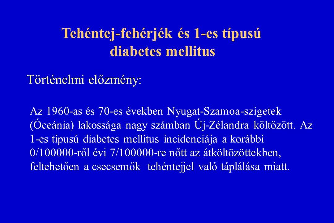 Tehéntej-fehérjék és 1-es típusú diabetes mellitus Az 1960-as és 70-es években Nyugat-Szamoa-szigetek (Óceánia) lakossága nagy számban Új-Zélandra köl