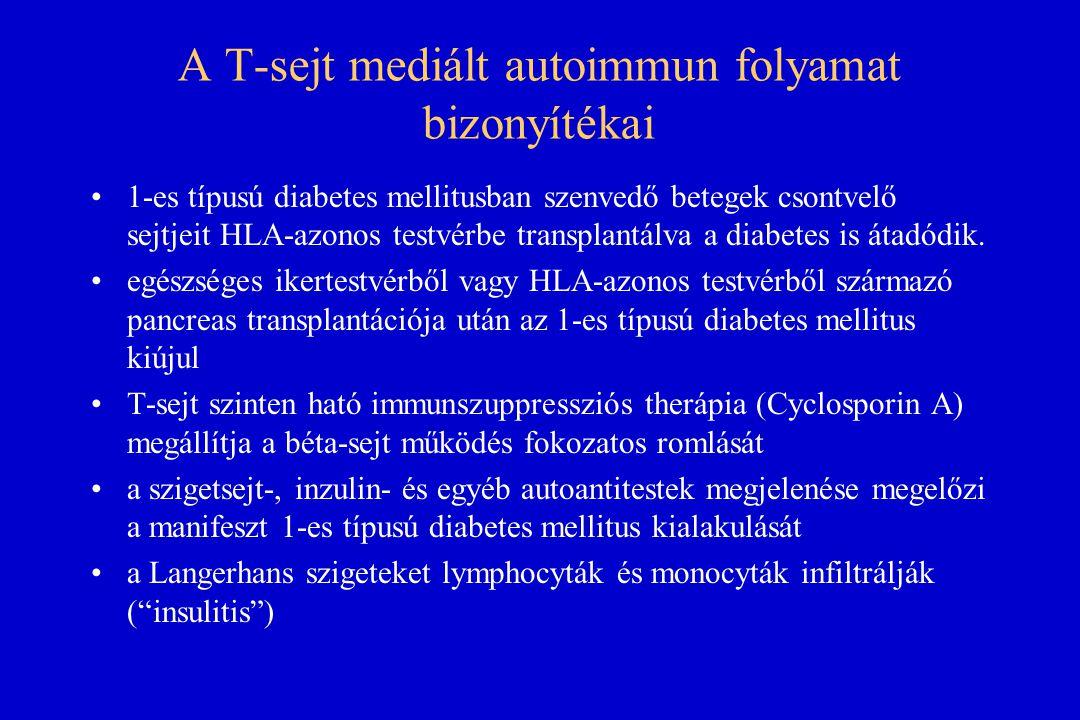 A T-sejt mediált autoimmun folyamat bizonyítékai 1-es típusú diabetes mellitusban szenvedő betegek csontvelő sejtjeit HLA-azonos testvérbe transplantá