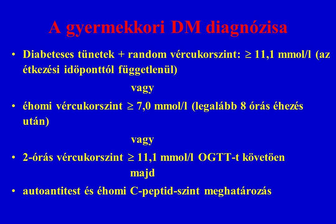 A gyermekkori DM diagnózisa Diabeteses tünetek + random vércukorszint:  11,1 mmol/l (az étkezési idöponttól függetlenül) vagy éhomi vércukorszint  7