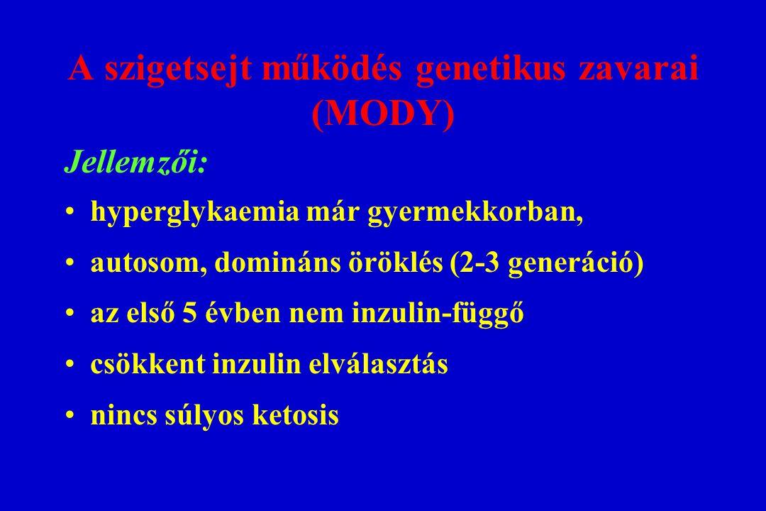 A szigetsejt működés genetikus zavarai (MODY) Jellemzői: hyperglykaemia már gyermekkorban, autosom, domináns öröklés (2-3 generáció) az első 5 évben n