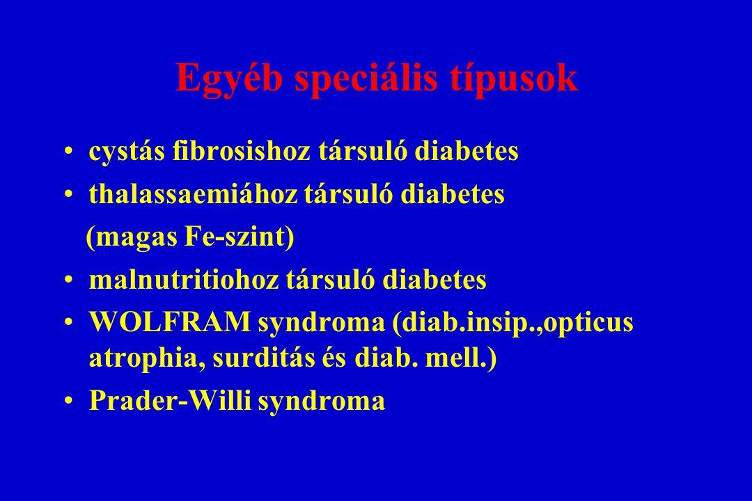 Egyéb speciális típusok cystás fibrosishoz társuló diabetes thalassaemiához társuló diabetes (magas Fe-szint) malnutritiohoz társuló diabetes WOLFRAM