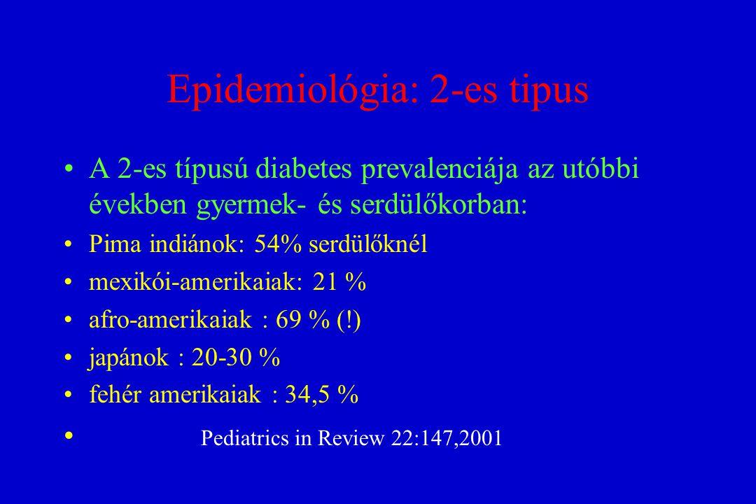 Epidemiológia: 2-es tipus A 2-es típusú diabetes prevalenciája az utóbbi években gyermek- és serdülőkorban: Pima indiánok: 54% serdülőknél mexikói-ame