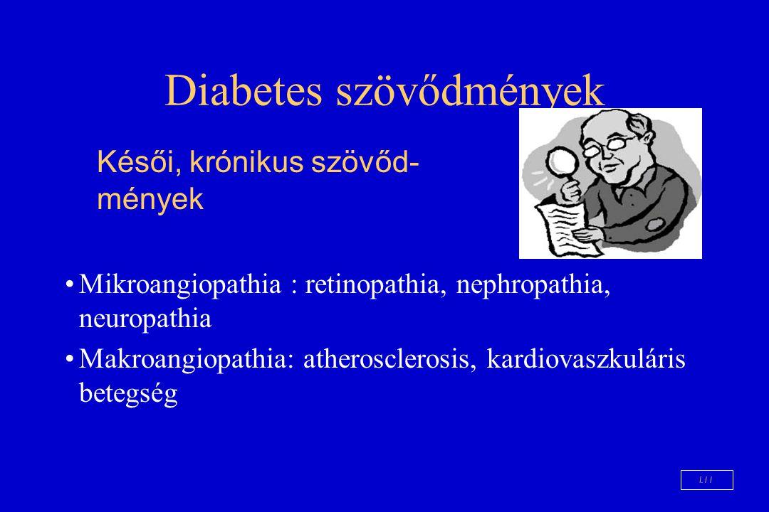 Diabetes szövődmények Mikroangiopathia : retinopathia, nephropathia, neuropathia Makroangiopathia: atherosclerosis, kardiovaszkuláris betegség Késői,