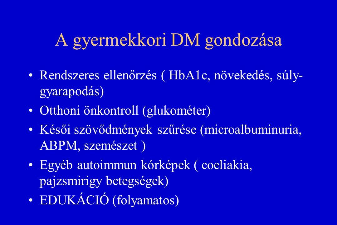 A gyermekkori DM gondozása Rendszeres ellenőrzés ( HbA1c, növekedés, súly- gyarapodás) Otthoni önkontroll (glukométer) Késői szövődmények szűrése (mic