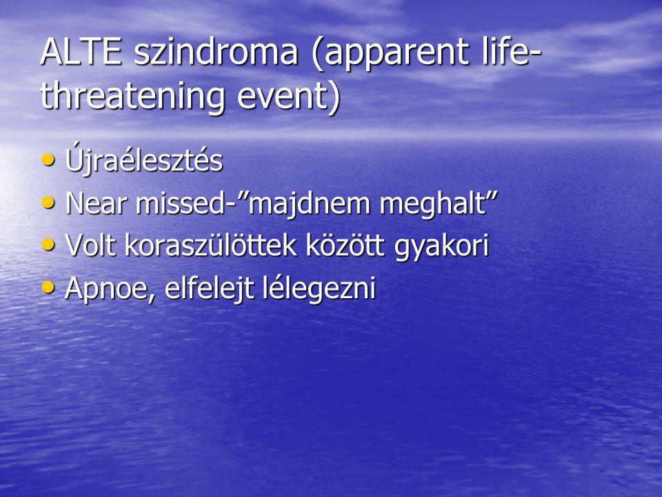 """ALTE szindroma (apparent life- threatening event) Újraélesztés Újraélesztés Near missed-""""majdnem meghalt"""" Near missed-""""majdnem meghalt"""" Volt koraszülö"""