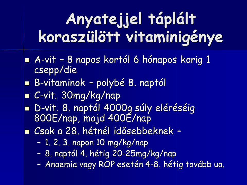 Anyatejjel táplált koraszülött vitaminigénye A-vit – 8 napos kortól 6 hónapos korig 1 csepp/die A-vit – 8 napos kortól 6 hónapos korig 1 csepp/die B-vitaminok – polybé 8.