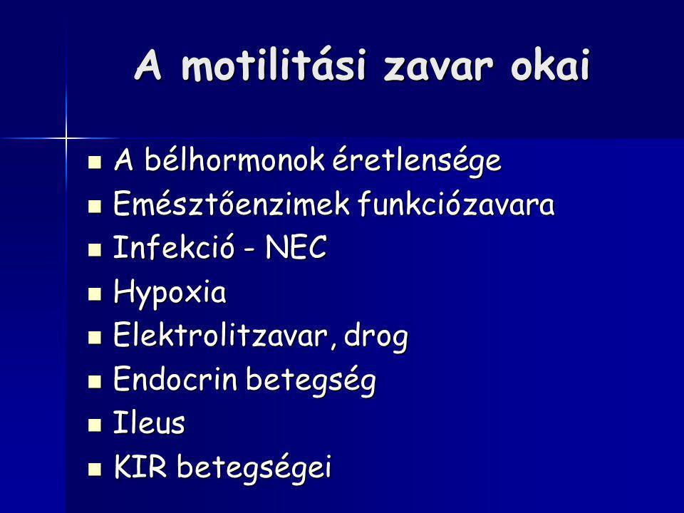 A motilitási zavar okai A bélhormonok éretlensége A bélhormonok éretlensége Emésztőenzimek funkciózavara Emésztőenzimek funkciózavara Infekció - NEC I