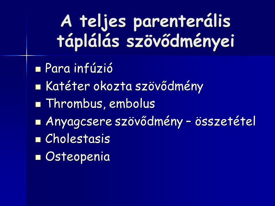 A teljes parenterális táplálás szövődményei Para infúzió Para infúzió Katéter okozta szövődmény Katéter okozta szövődmény Thrombus, embolus Thrombus, embolus Anyagcsere szövődmény – összetétel Anyagcsere szövődmény – összetétel Cholestasis Cholestasis Osteopenia Osteopenia