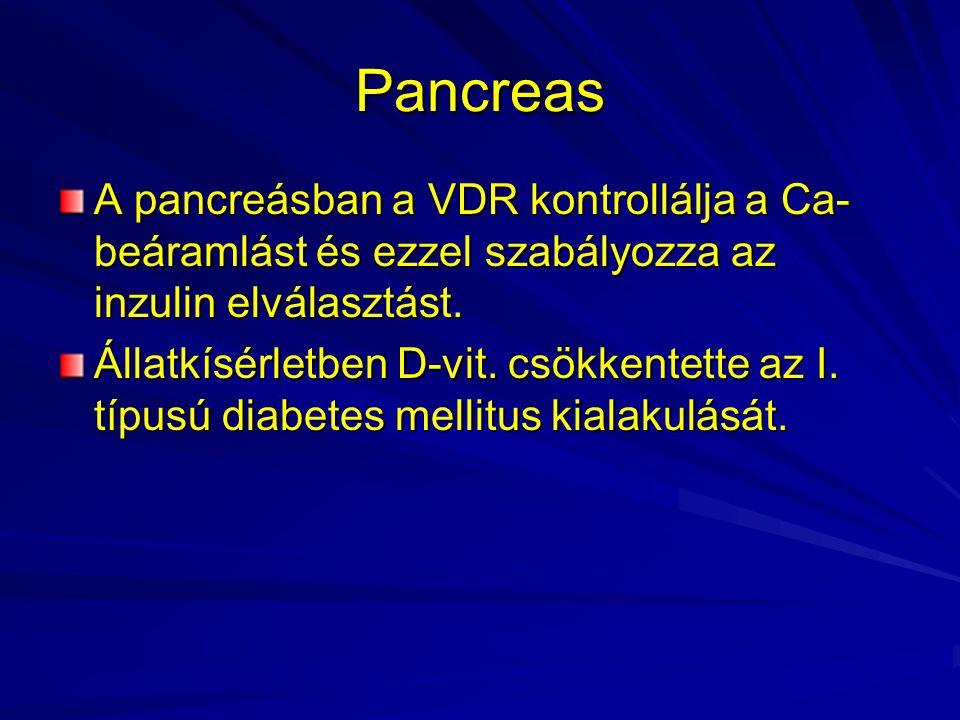 Pancreas A pancreásban a VDR kontrollálja a Ca- beáramlást és ezzel szabályozza az inzulin elválasztást. Állatkísérletben D-vit. csökkentette az I. tí